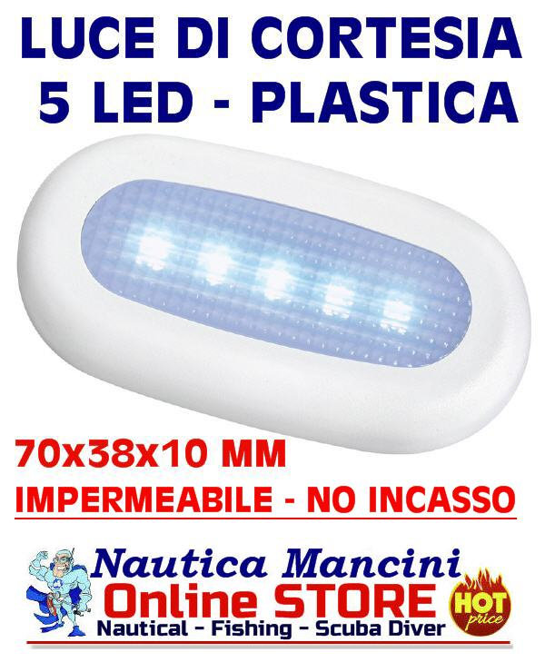 Luce di cortesia stagna a 5 LED Blu 12V